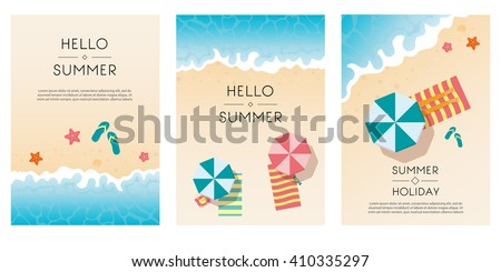 set of summer travel flyers