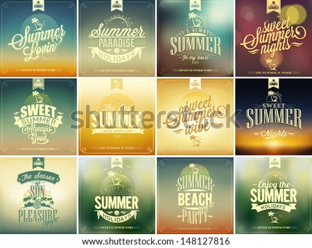 set of summer typographical