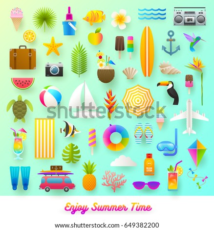 Set of summer vacation and travel items. Flat vector illustration.