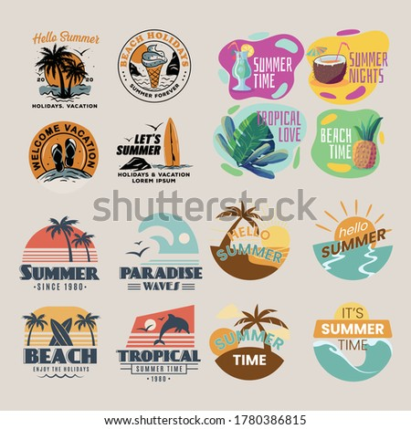 set of summer vacation concepts