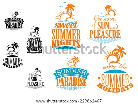 set of summer vacation icons