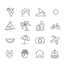 Set of summer vacation on the beach icons. Travel concept outline isolated on white background