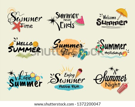 Set of summer various typography.