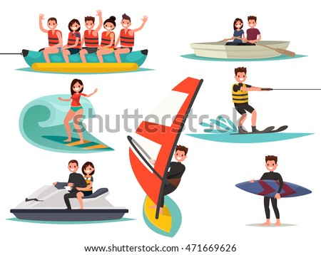 Set of summer water active recreation. Banana boat, surfing, windsurfing, jet ski, water ski. Vector illustration of a flat design