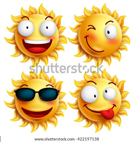 set of sun character with funny