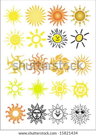 set of sun collection - stock vector