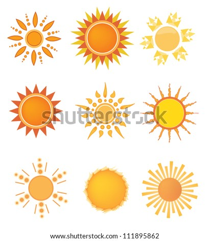 Set of sun design elements