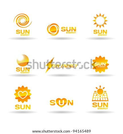 Set of sun energy icons.