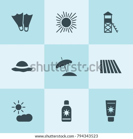 set of 9 sun filled icons such