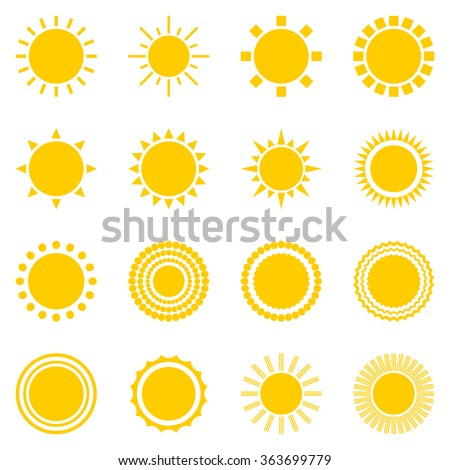 set of sun icons isolated on