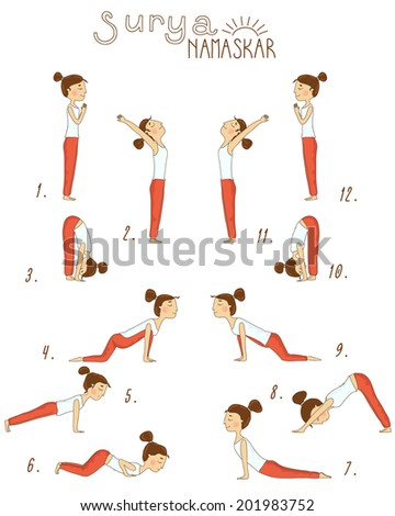 set of sun salutation yoga exercises vector illustration