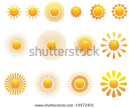 Set of sun. Vector.