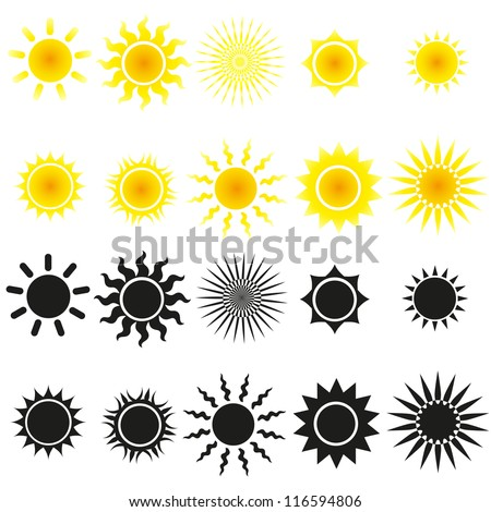 Set of sun vectors in yellow and black