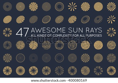 set of sunburst vector rays of