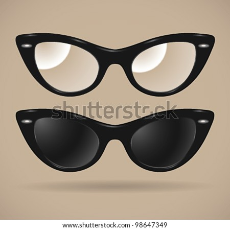 Set of sunglasses and eyeglasses (cats-eye shape/isolated) - vector illustration. Shadow and background are on separate layers. Transparent lens. Easy editing.