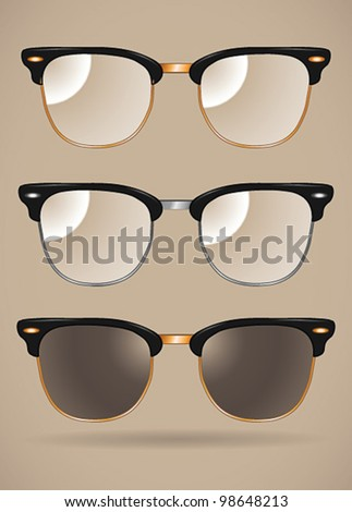 Set of sunglasses and eyeglasses (clubmaster shape/black/silver/isolated) - vector illustration Shadow and background are on separate layers. Transparent lens. Easy editing.