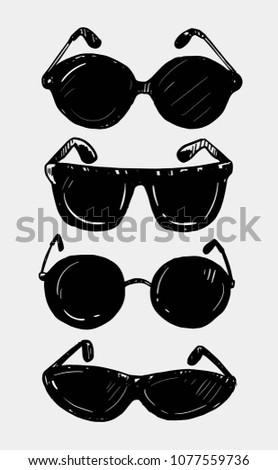 set of sunglasses hand drawn
