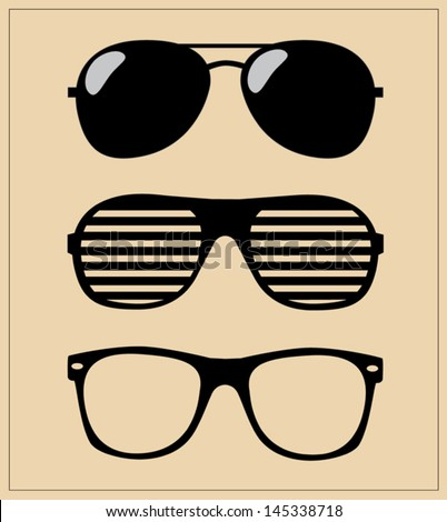 Shutterstock Set of Sunglasses. Vector Illustration Glasses Hipster. Template.