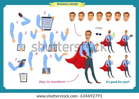 Set of super businessman character poses, gestures,actions, body elements. Isolated on white. Man in shirt,cloak standing, Cartoon flat-style illustration. Business people. Male avatar expressions.