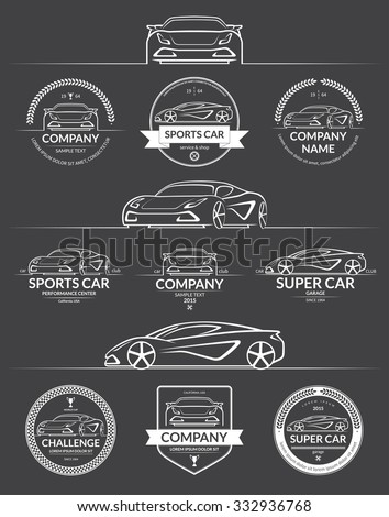set of super car silhouettes