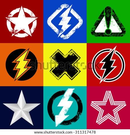 set of superhero signs