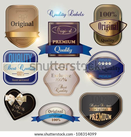 Set of Superior Quality and Satisfaction Guarantee Badges, Labels, Tags. Retro vintage style - stock vector