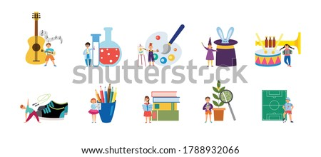 Set of supplies for childrens creative hobbies and outside interests flat vector illustration isolated on white background. Sport and art extracurricular activity icons. Zdjęcia stock ©
