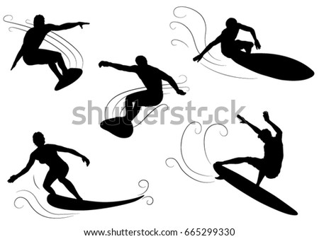 set of surfer silhouettes