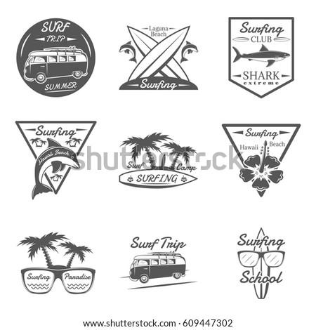 set of surfing in monochrome