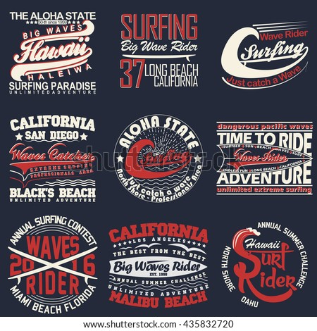 set of surfing t shirt graphic