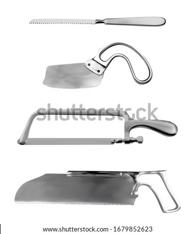 Set of surgical saws. Charriere Bone Saw, Plaster saw Bergman, Satterlee Bone Saw, Metacarpal saw Langenbeck. Manual surgical instrument. Isolated objects on a white background. Vector illustration.