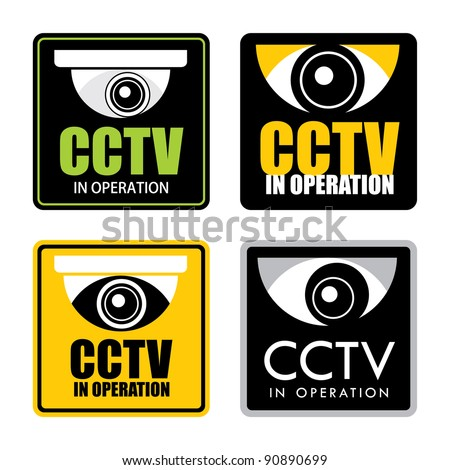 Set of surveillance CCTV signs, vector.