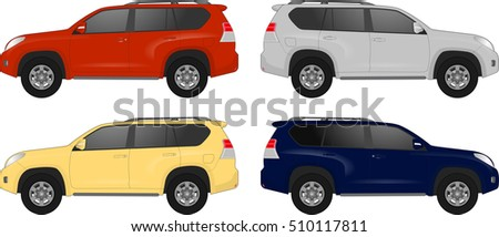 set of suv cars  off road