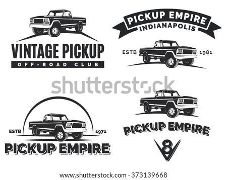 set of suv pickup car vector