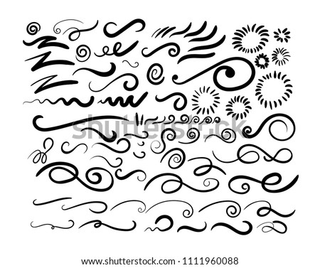 Set of Swashes, swoops, scribbles, and squiggles for typography emphasis. Vector illustration. Isolated on white background