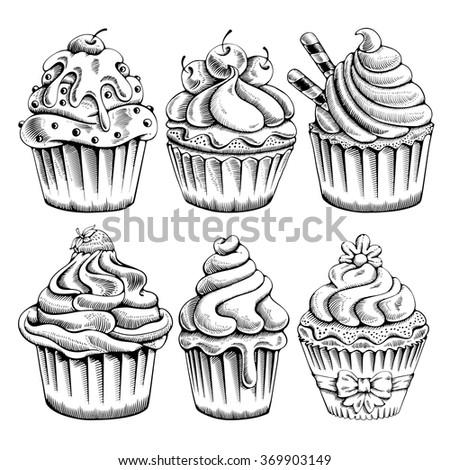 set of sweet bakery decorated