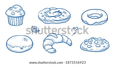 Set of sweet bakery goods as muffin, danish nut pastry, donut, filled donut, croissant and cookie. Hand drawn doodle vector illustration. Foto stock ©