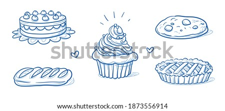 Set of sweet bakery goods: cream layer cake, cherry tarte, cup cake, nut cookie and apple pie. Hand drawn doodle vector illustration.