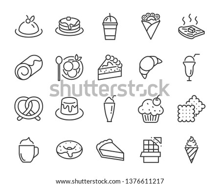 set of sweet bakery icons  such