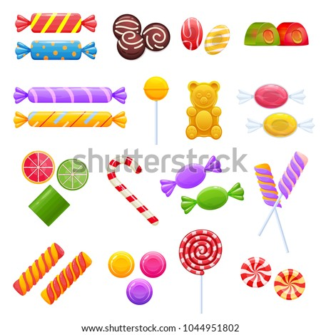 Set of sweet chocolates, desserts, assorted delicious food. Collection gifts for holidays, birthday, Christmas. Colorful candy, chocolate candy, caramel, jelly, bars. Vector illustration isolated.