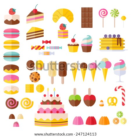 set of sweet food icons candy