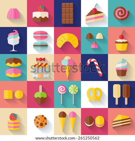 set of sweet food icons flat