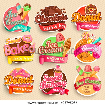 set of sweet food labels