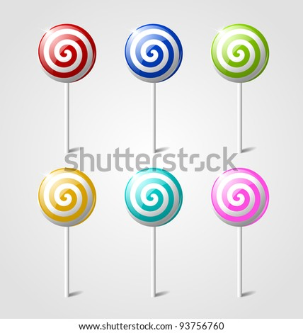 Set of sweet glossy lollipops isolated on light grey background