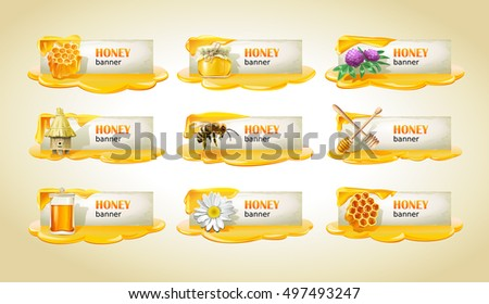 Set of sweet honeyed vector banners.