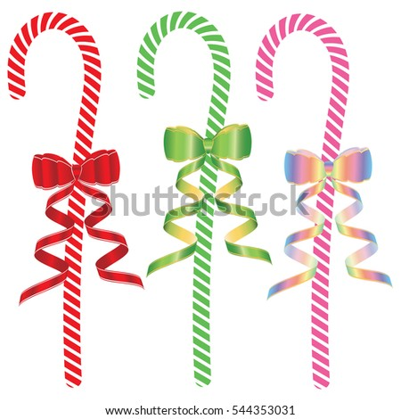 set of sweet lollipop decorated with a bright bow with ribbon isolated on white background vector element for design Stockfoto ©