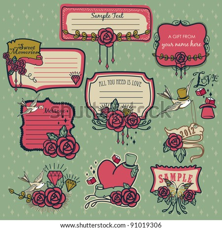 Set of sweet red rose memories label - background with space for text