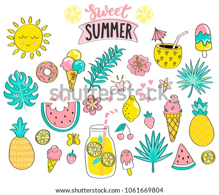 set of sweet summer hand drawn