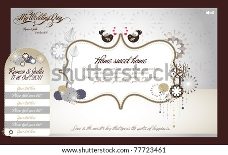 set of sweet wedding website design (can be use in invitation card also)