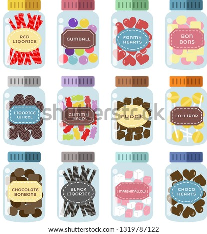 set of 12 sweets jars with cute